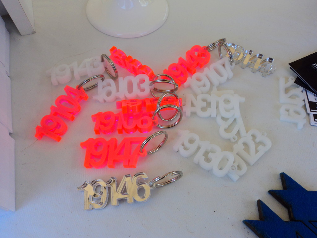 Masters of None Philadelphia laser cut zip code keychains at East Passyunk Avenue Crafty Balboa Craft Fair / Her Philly