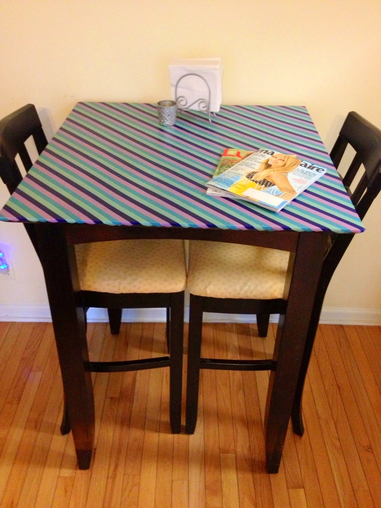 diy japanese paper washi tape table top her philly. Black Bedroom Furniture Sets. Home Design Ideas
