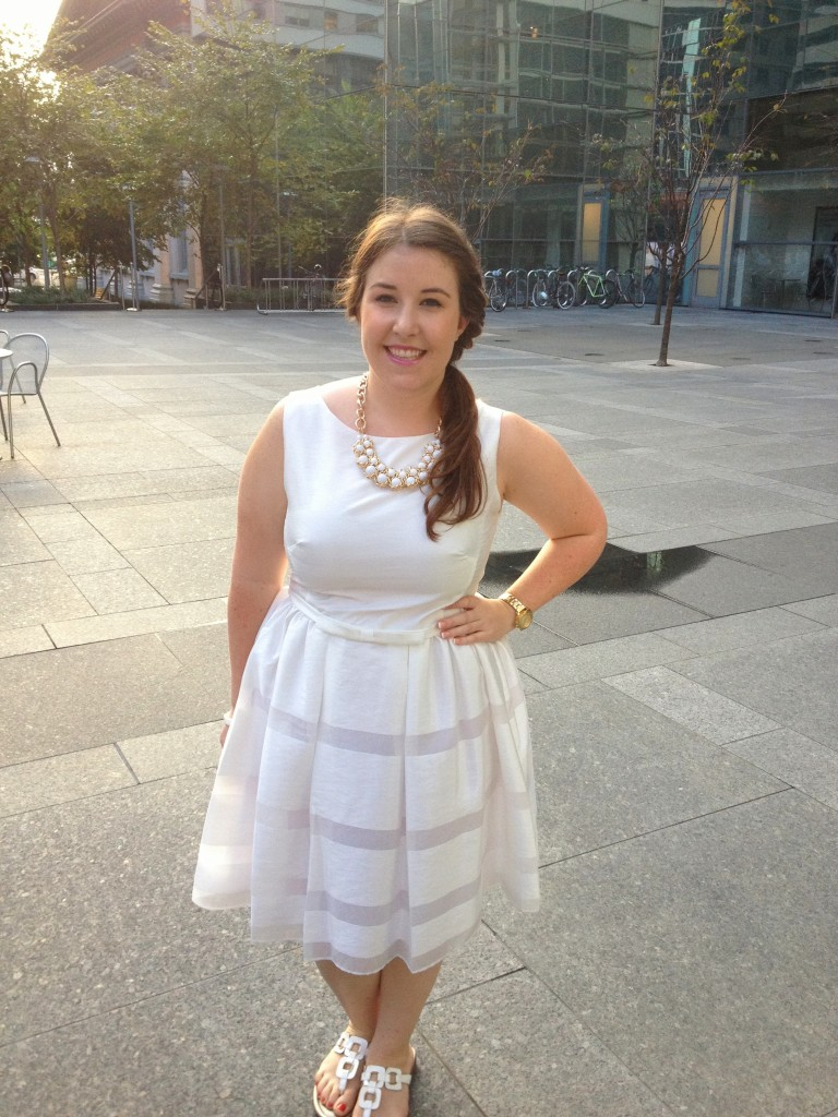 Emily Tharp in a White Taylor Dresses Fit and Flare Dress // Her Philly