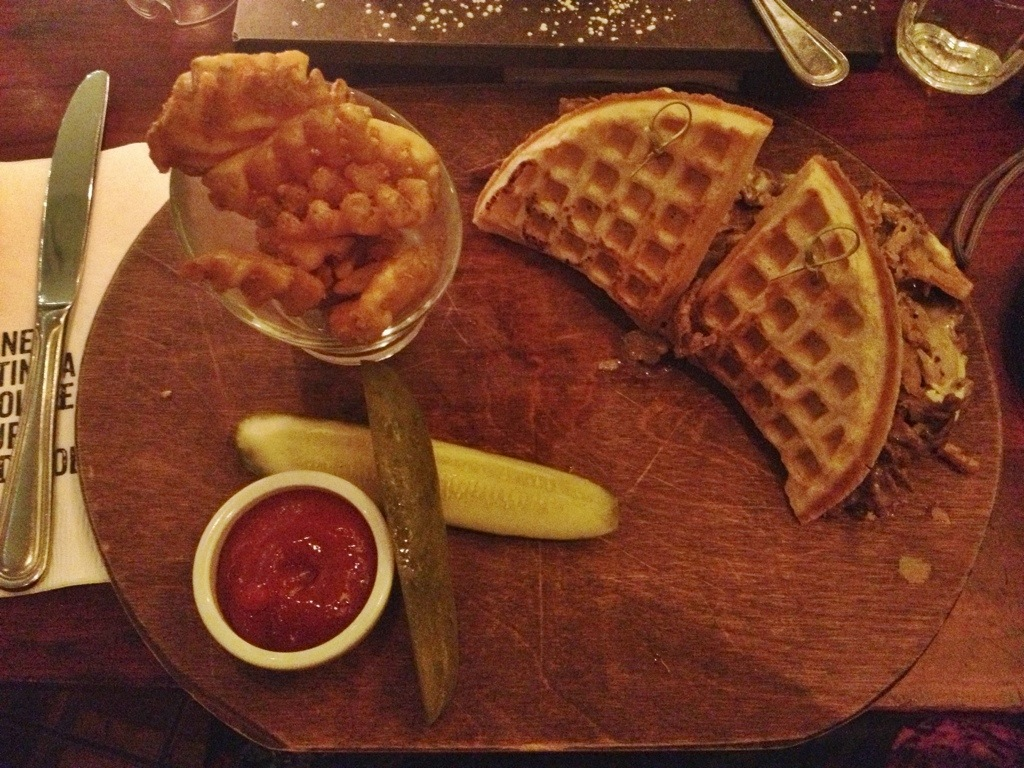 Max Brenner Philly Cheesesteak Waffle Sandwich