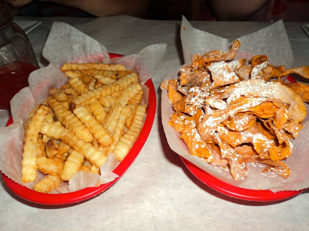 Cajun fries and sweet potato crisps // Her Philly